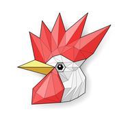 Cock. Low polygon linear vector illustration - stock illustration