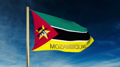 Mozambique flag slider style with title. Waving in the wind with cloud Stock Footage