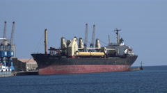 Cargo ship in Port Sudan. TWO CLIP IN ONE! Stock Footage