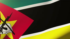 Mozambique flag waving in the wind. Looping sun rises style.  Animation loop Stock Footage