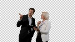 K14A8861 - Couple discusses tablet and shelves / well dressed - stock footage