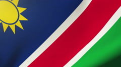 Namibia flag waving in the wind. Looping sun rises style.  Animation loop Arkistovideo