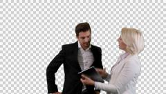 K14A8858 - Guy and Girl / Tablet / Discussion - stock footage