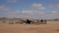 House in african desert village - Sudan TWO CLIP IN ONE! Stock Footage