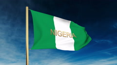Nigeria flag slider style with title. Waving in the wind with cloud background Stock Footage