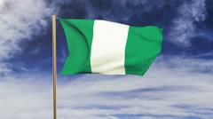 Nigeria flag waving in the wind. Green screen, alpha matte. Loopable animation Stock Footage