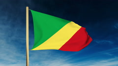 Republic of the Congo flag slider style. Waving in the wind with cloud Stock Footage