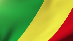 Republic of the Congo flag waving in the wind. Looping sun rises style Stock Footage