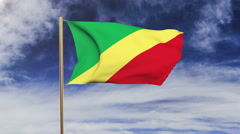 Republic of the Congo flag waving in the wind. Green screen, alpha matte Stock Footage