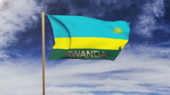 Rwanda flag with title waving in the wind. Looping sun rises style.  Animation Arkistovideo