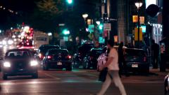 Montreal city bars street at night Stock Footage