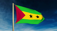 Sao Tome and Principe flag slider style. Waving in the wind with cloud Stock Footage