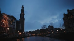 Beautiful Amsterdam buildings along canal 2 Stock Footage