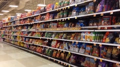 Chips Aisle In Supermarket Stock Footage