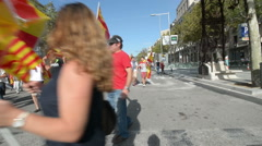 barcelona independence protest - stock footage