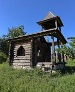 Stock Photo of Heritage village, old log house chapel