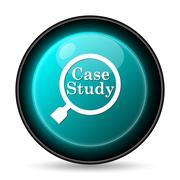 Stock Illustration of Case study icon. Internet button on white background..