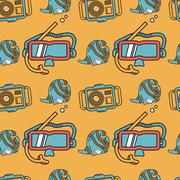 Colored flat design background for snorkeling Stock Illustration