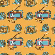 Colored flat design vector background for snorkeling Stock Illustration