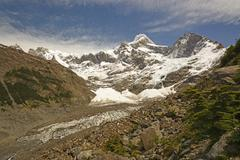 Looking up a Glacial Valley in the Andes Stock Photos