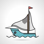 Sailing yacht flat vector icon Stock Illustration