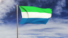 Sierra Leone flag waving in the wind. Green screen, alpha matte. Loopable Stock Footage
