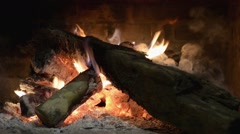 Fireplace, burning logs Stock Footage