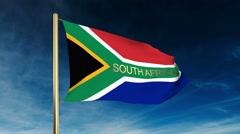 South Africa flag slider style with title. Waving in the wind with cloud Stock Footage