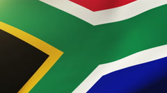 South Africa flag waving in the wind. Looping sun rises style.  Animation loop Arkistovideo