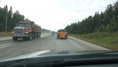 Following Pilot Vehicle through construction zone. Ontario, Canada. 2 of 2. Stock Footage