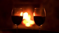 Two wine glasses and the woman taking the one of them. Stock Footage