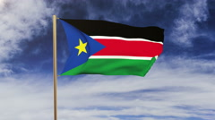 South Sudan flag waving in the wind. Green screen, alpha matte. Loopable Stock Footage