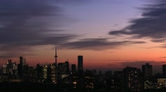 Toronto Downtown Office Buildings at Dusk Stock Footage