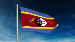 Swaziland flag slider style. Waving in the wind with cloud background animation Stock Footage
