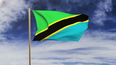Tanzania flag waving in the wind. Green screen, alpha matte. Loopable animation Stock Footage