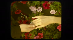 Everlasting Wedding Kiss Of Young Newlyweds Holding Hands Stock Footage