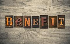 Benefit Wooden Letterpress Theme Stock Photos