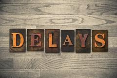 Delays Wooden Letterpress Theme Stock Photos