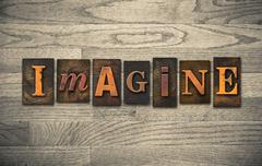 Imagine Wooden Letterpress Theme Stock Photos