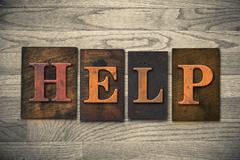 Help Wooden Letterpress Theme Stock Photos