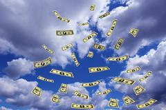 Dollar banknotes flying away in the sky Stock Illustration