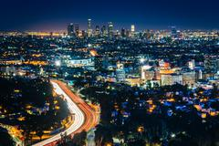 View of the Los Angeles Skyline and Hollywood at night from the Hollywood Bow Stock Photos