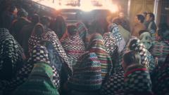 Procession of maya women Stock Footage