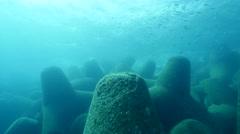 Tetrapod barrier Fuerteventura Spain Stock Footage