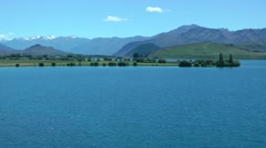 Lake and mountainscape in New Zealand - stock footage