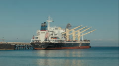 Bulk Freighter Ship Docked Stock Footage