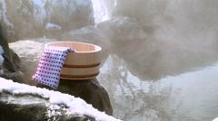 Traditional Japanese hot springs in Teshikaga, Hokkaido, Japan Stock Footage