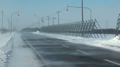 Road covered in snow, Hokkaido, Japan Stock Footage
