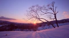 Drifting Snow at Koshimizu Pass, Hokkaido, Japan Stock Footage