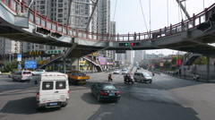 Traffic against Shanghai cityscape Stock Footage